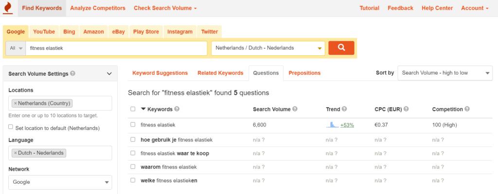 Zoekwoordonderzoek met keywordtool.io