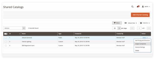 Magento Admin interface voor het toewijzen van gedeelde catalogi aan bedrijven