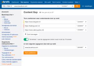 Ahrefs concurrentie analyse Content Gap
