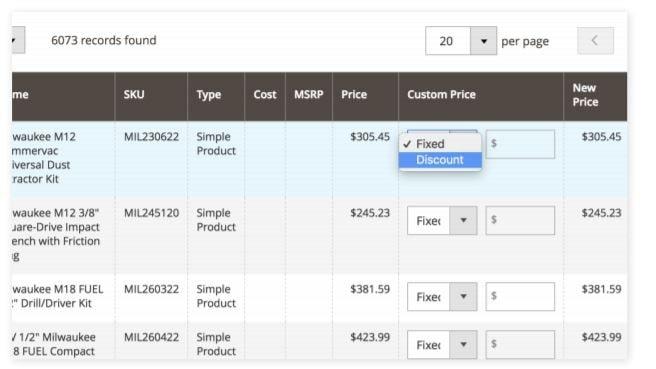 Merchant Admin gedeelde prijsconfiguratie voor catalogi