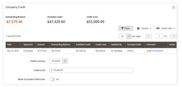 Magento Admin kredietlimiet overzicht van account