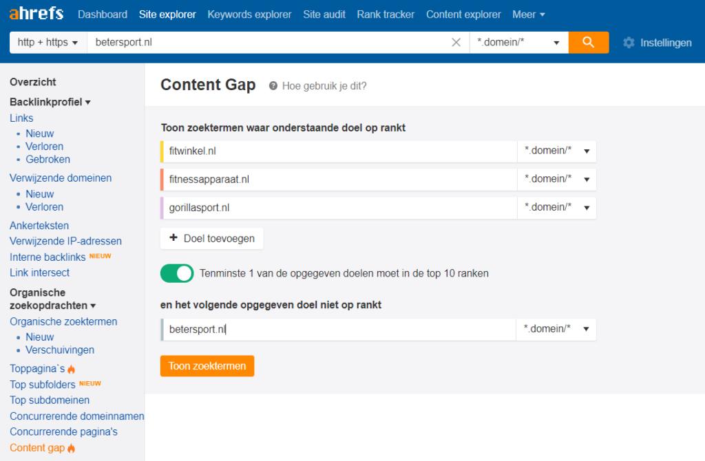 Ahrefs - Content Gap Analyse SEO