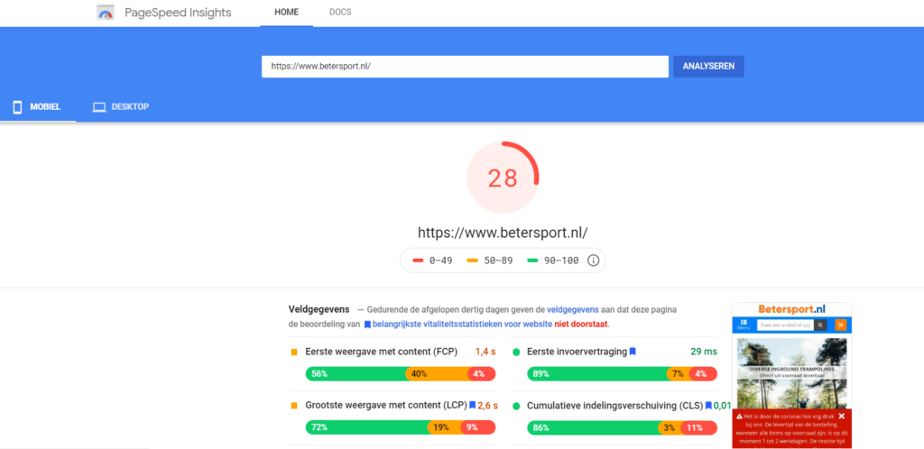 Pagespeed Insights SEO snelheid optimalisatie