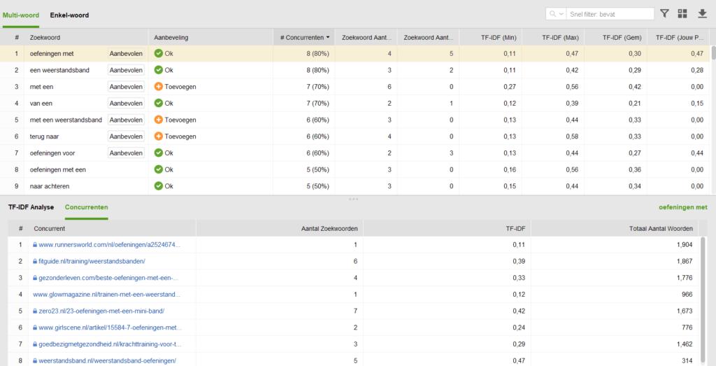 Website Auditor SEO analyse aantal woorden