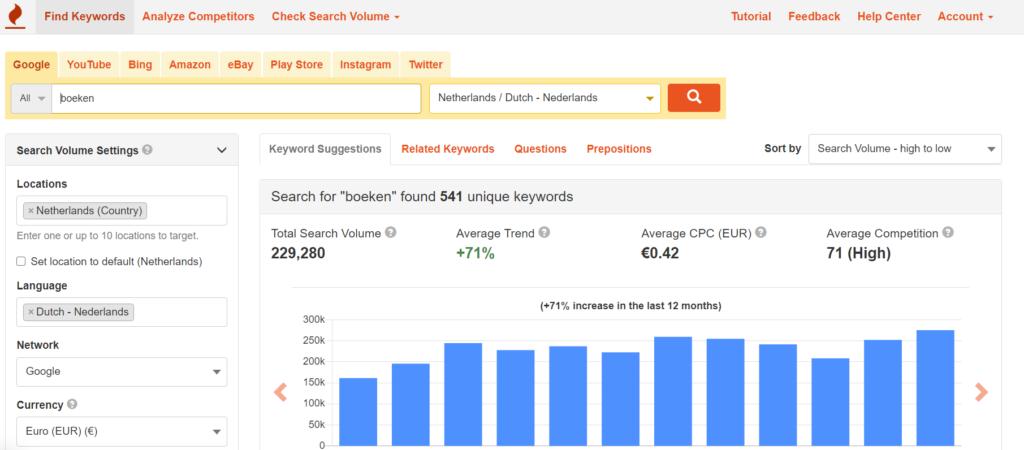 Keywordtool.io - SEO zoekwoord tool