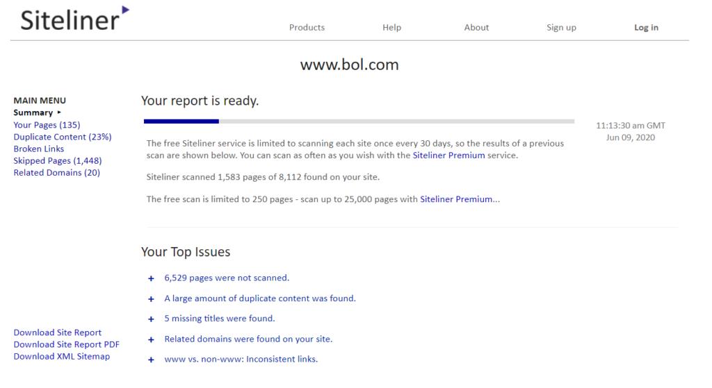 Siteliner SEO tool duplicated content